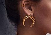 jewels,jewelry,earrings,horn,crescent pendant,crescent earrings