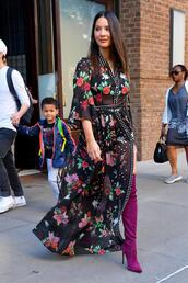 dress,maxi dress,floral,boots,over the knee boots,over the knee,suede boots,olivia munn,spring outfits,shoes