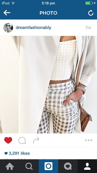 jeans gingham grey white pants geometric formal classy office outfits
