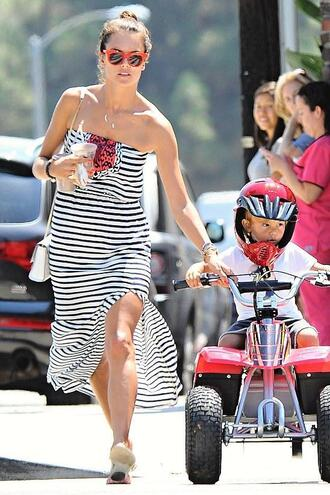 dress summer dress summer outfits alessandra ambrosio striped dress stripes strapless