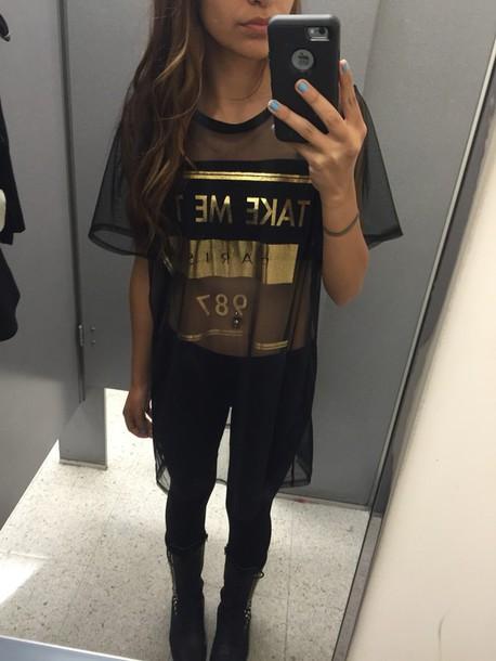shirt lace top black t-shirt paris see through blouse dress