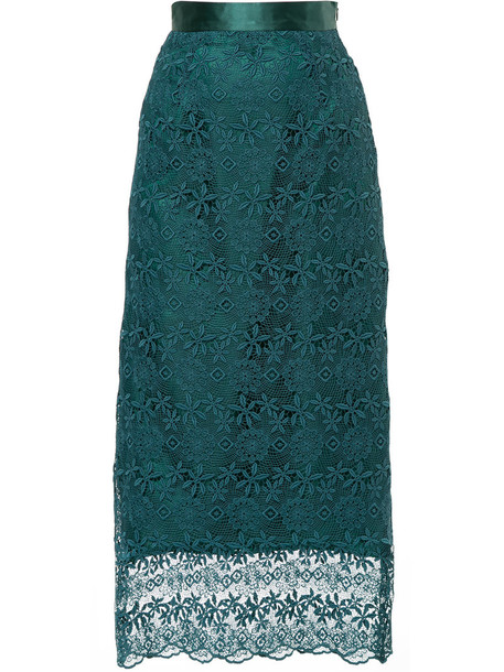 Cityshop - floral lace skirt - women - Polyester - 36, Green, Polyester