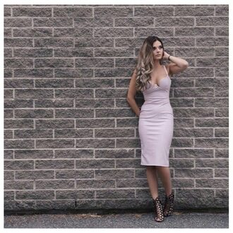 dress mischievous socialite leatherette vegan leather faux leather midi dress lilac dress purple dress light purple dress bodycon dress low cut dress high quality dress
