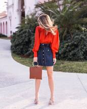 blouse,red bloluse,pink shoes,tumblr,red top,puffed sleeves,skirt,denim skirt,denim,blue skirt,button up,button up skirt,shoes,mules,bag,brown bag,spring outfits,spring date night outfit,date outfit