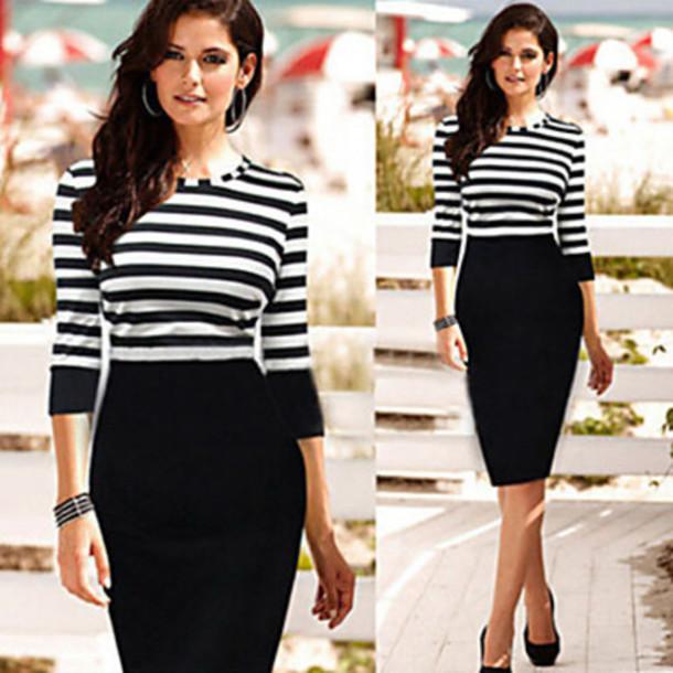 dress stripe bodycon pencil dress