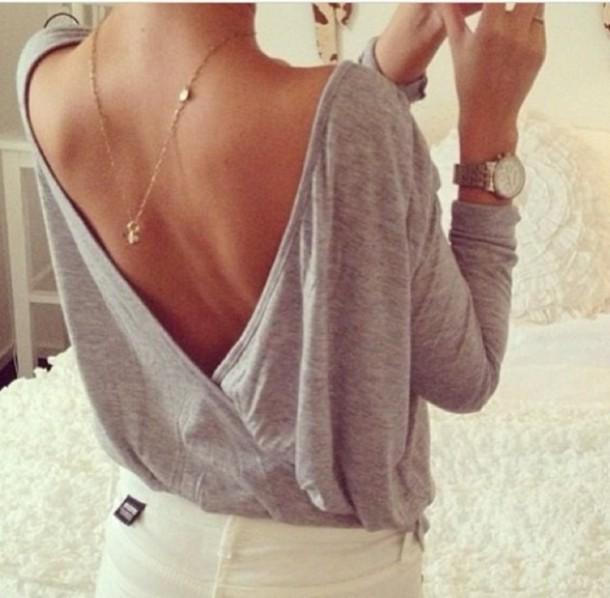shirt grey t-shirt open back jewels