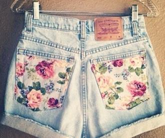 shorts denim light denim light shorts flowery pockets flowery flowers denim shorts