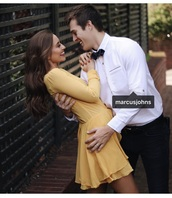 dress,yellow dress,long sleeve dress,flowy dress