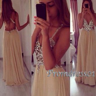 prom dress diamonds sparkles openbackpromdress long prom dress