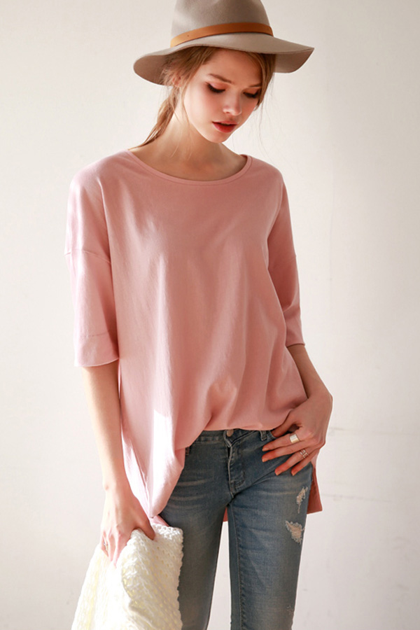 Pink Round Neck Half Sleeve Loose T-shirt
