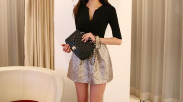 top sparkle chanel bag black top skirt chanel v neck