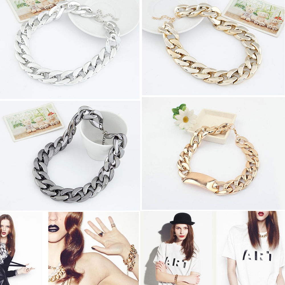 CELEBRITY STYLE ALUMINIUM ALLOY CHOKER CHUNKY CURB SHINY LINK ID CHAIN NECKLACE | eBay