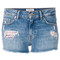 Tommy hilfiger - tommyxgigi tartan panelled distressed shorts - women - cotton/spandex/elastane - 25, blue, cotton/spandex/elastane