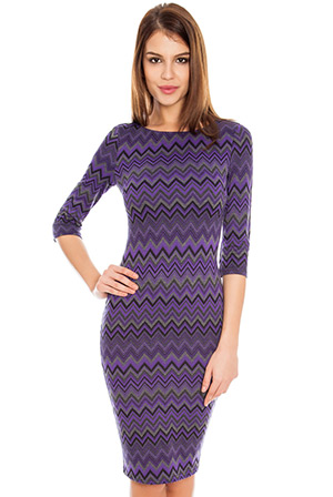 Zig Zag Jacquard Three Quarter Sleeve Dress