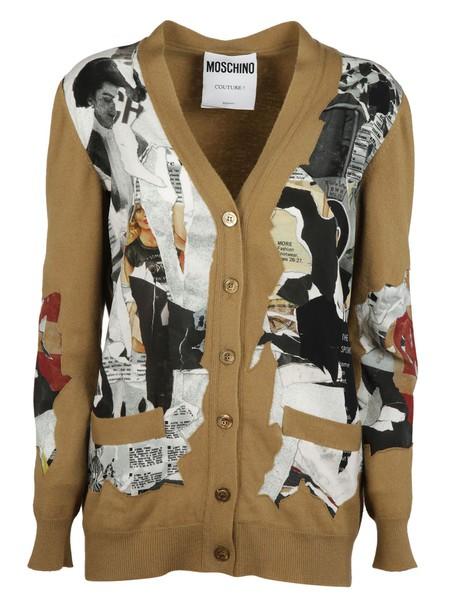 Moschino cardigan cardigan cut-out magazine brown sweater