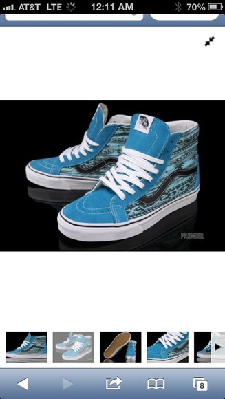 shoes vans shoes blue tribal pattern hightops