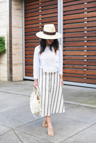 crystalin marie blogger sweater skirt hat bag sunglasses jewels white blouse midi skirt striped skirt mules handbag spring outfits