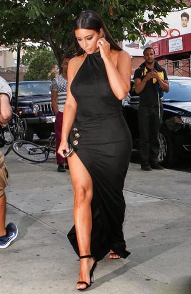 dress maxi dress black black dresses kim kardashian