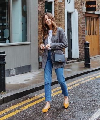 jacket blazer plaid plaid blazer shoes yellow flats denim jeans blue jeans