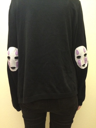 sweater spirited away grunge no face anime jumper elbow patches pastel