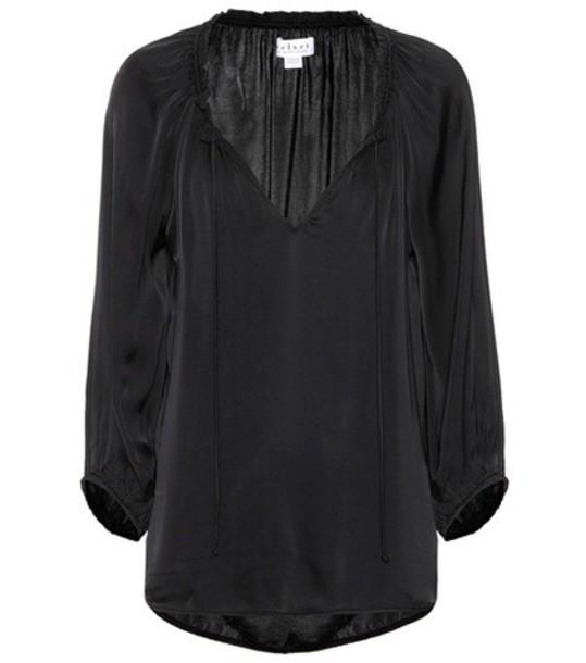Velvet blouse black top