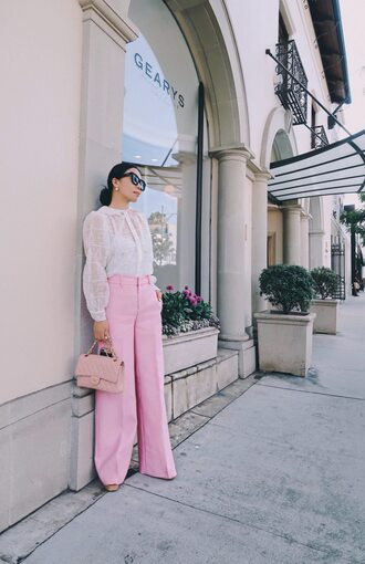 blouse tumblr white blouse white lace top lace top pants pink pants wide-leg pants bag pink bag sunglasses