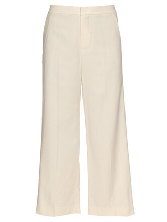 cropped wool cream pants