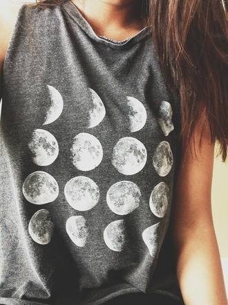 shirt moon phase grey tumblr moon phases t-shirt to the moon and back cute outfits cute pretty girly sweater top brandy melville tank top night darkness girl hair browny moon t shirt grey shirt moon shirt brunette grunge blouse printed tank top printed tank printed top short tank top short tank short top grey tank top grey top grey t-shirt