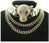 jewels,shopwithjewelz,versace,gold choker,choker necklace,choker collar,3 lion head necklace,panther necklace,jaguar necklace