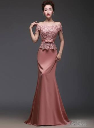 dress evening dress pink lace dress