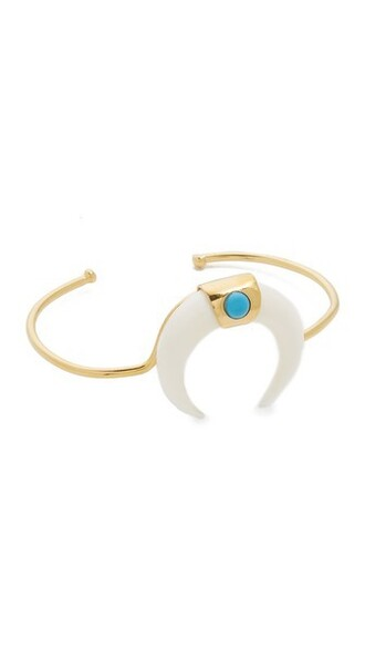 cuff gold white turquoise jewels