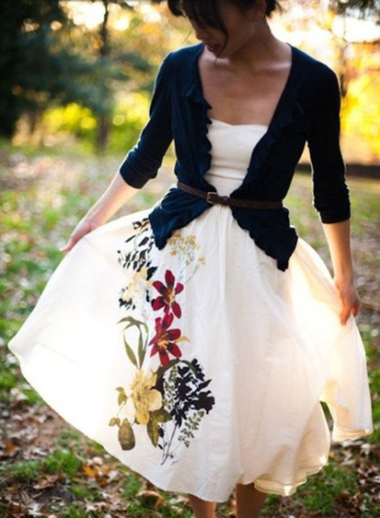 dress floral dress sweetheart neckline white dress cardigan navy cardigan belt calf length dress