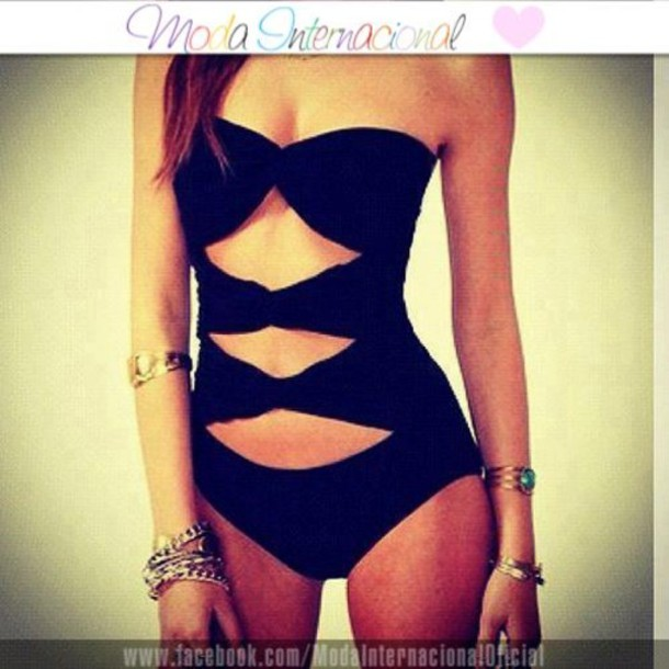 swimwear black swimwear cut-out tie one piece swimsuit black beautiful bow beach sexy trikini bows black trikini pretty cute girly skinny summer hot holidays sunshine one colour one piece vêtement body noir jewels gold bracelet gold necklace long hair black bikini style maillot elegant swimwear swimwear most of these tags are random cold good looking blue purple turquoise bikini