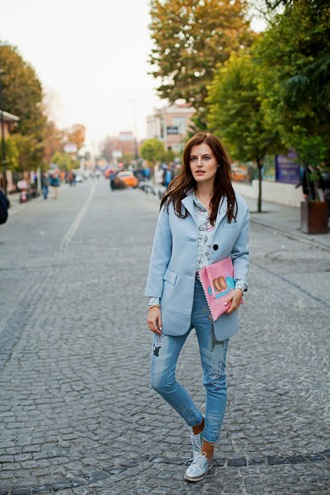 food shirt pink light blue the bow-tie blogger jeans pouch coat