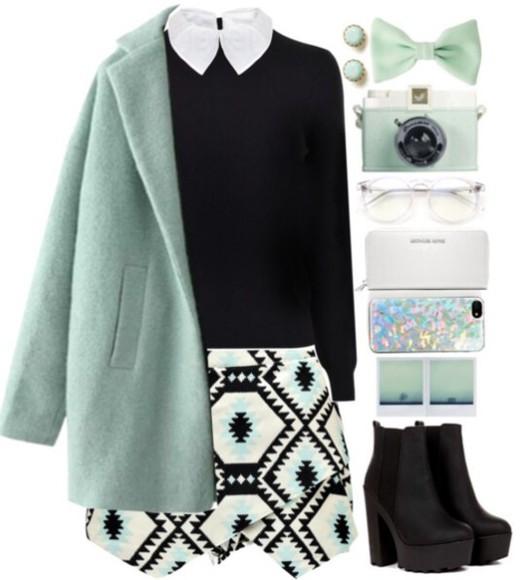mint coat black white skirt mini skirt black skirt winter outfits aztec bows glasses phone case