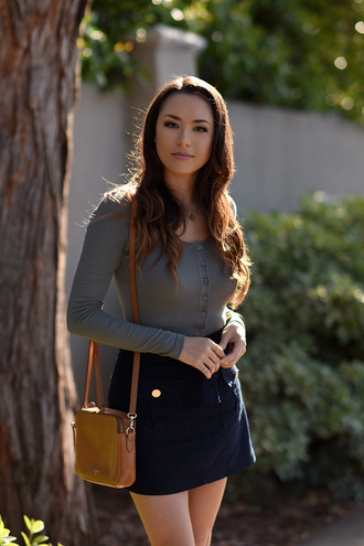 jessica r. hapa time - a california fashion blog by jessica blogger bag shoes long sleeves mini skirt blue skirt shoulder bag mini bag