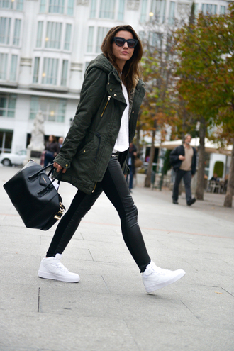 lovely pepa blogger bag sunglasses parka jeggings white shoes high top sneakers red lime sunday