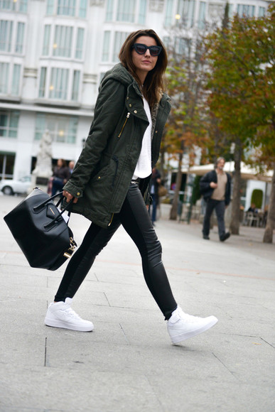 high top sneakers blogger bag lovely pepa sunglasses parka white shoes jeggings