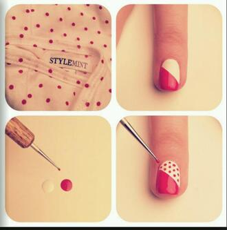 nail accessories polka dots pink and white nail art tip