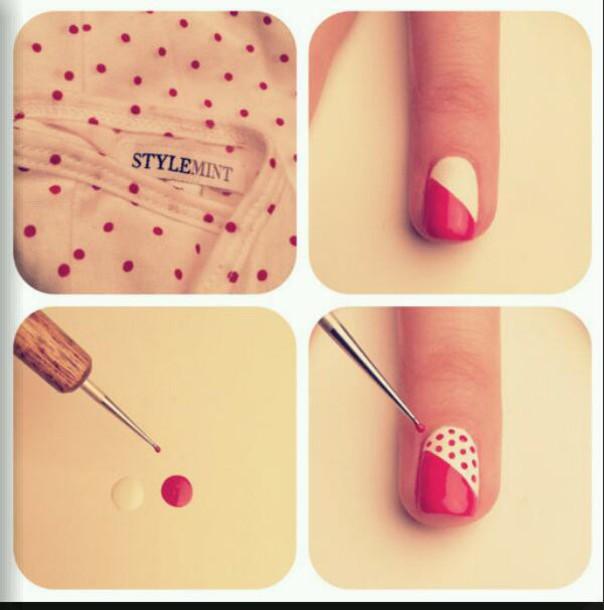 nail accessories polka dots pink and white nail art