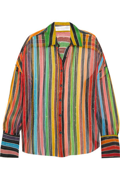 Caroline Constas shirt chiffon metallic silk red top