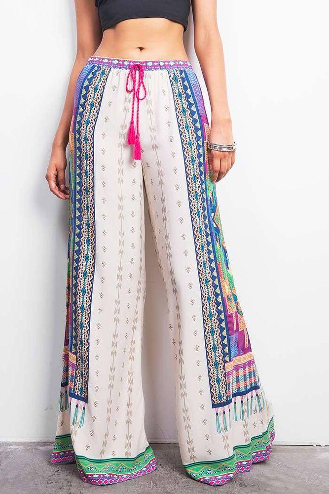 High Waist Rise Wide Leg Tribal Print Bohemian Draw Pants Elastic ...