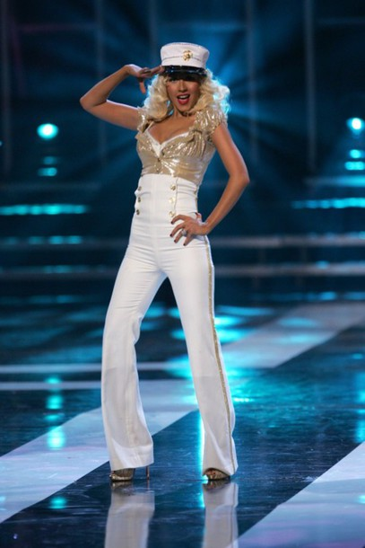 like follow  sc 1 st  Where To Get It & candyman hat pants christina aguilera costume shirt gold ...