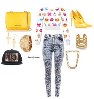 emoji print acid wash jeans cross earring purse yellow heels necklace watch gold jewelry