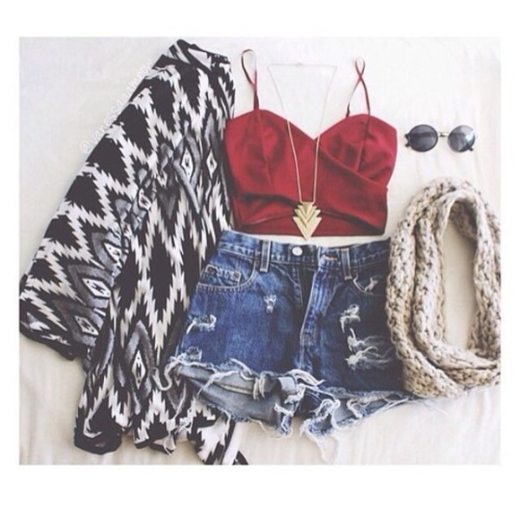 crop tops top scarf shorts cardigan sunglasses High waisted shorts tank top jeans red chain aztec swag cute coat hat jewels shirt shoes jacket chanel style jacket cool shirts denim shorts sweater black tribal pattern zigzag white black and white