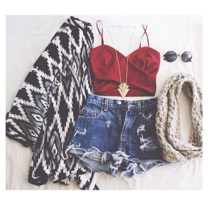 jewels red scarf cute jeans sunglasses coat tank top shorts hat cardigan aztec chain swag shirt jacket shoes crop tops chanel style jacket cool shirts denim shorts sweater black tribal pattern white zigzag black and white top high waisted shorts scarf red