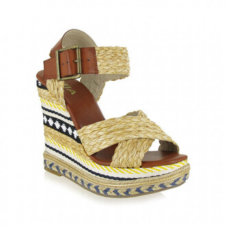 shoes black mia shoes wedge sandals wedges white yellow bikiniluxe