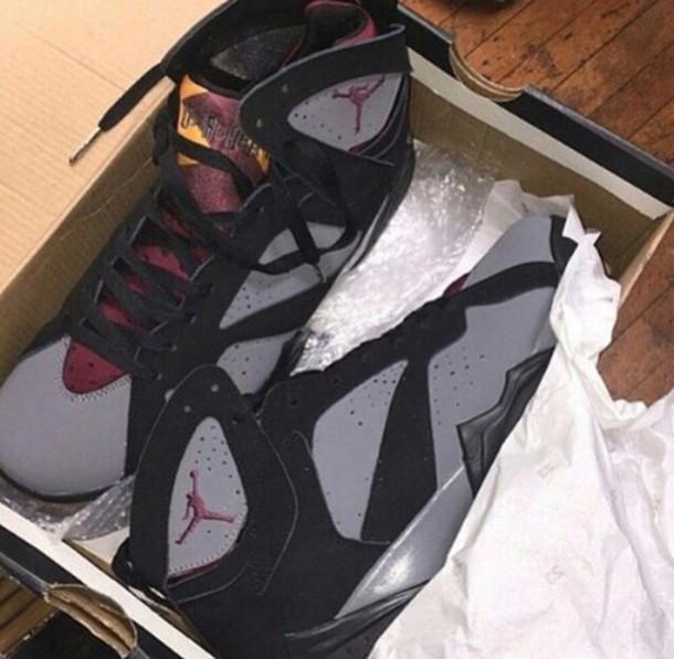 shoes, burgundy, 7s, jordan, jordan 7