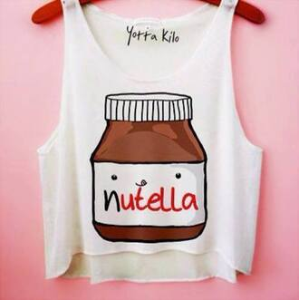 top crop cropped nutella chocolate funny crop tops
