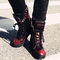 [grxjy5190682]british style rivets thick heel lace up ankle booties